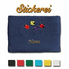 Hand Towel Shower Bath Cotton Embroidered Ladybirds + Name