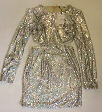 Ladies Glamorous Clothing Silver Cut Out Sides Sequin Dress XS,S,M, BNWT RRP £60