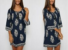 New Women's 1/2 Sleeve Loose Ethnic Long Kaftan Casual Party Short Mini Dress