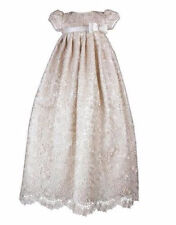 Vintage New Baptism Dress White/Ivory Baby Girls Christening Gown with Belt