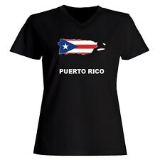 Puerto Rico Country Map Color Women V-Neck T-Shirt
