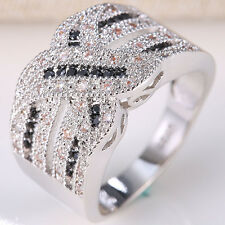 925 Silver 0.17CT Black Sapphire Topaz Infinity Wedding Engagement Ring Size6-10