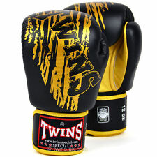 Twins Special Black-Gold Claw Muay Thai Velcro Boxing Gloves - FBGV-TW3