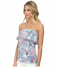 NEW Lilly Pulitzer WILEY TUBE TOP Ruffle Multi Shell Me About it Blue Pink S