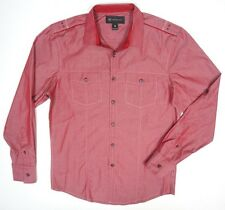 NEW MENS INC RED BUTTON DOWN MILITARY STYLE ROLL UP SLEEVES CASUAL DRESS SHIRT