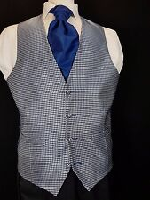 WC056 Mens Blue Silver Patterned Wedding Evening Formal Suit Waistcoat