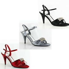 WOMEN'S LADIES STRAPPY MID HIGH STILETTO HEELS ANKLE STRAP SHOES SANDALS 3-7