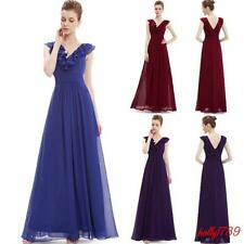 Elegant Party Womens Ruffled V Neck Sleeveless Formal Bridesmaid Long Dresses