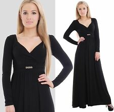 Long Black Formal Evening Dress Long Sleeve V neck Empire Style By MontyQ