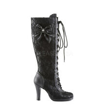 GLAMOROUS STEAMPUNK BLACK LACE UP KNEE HIGH BOOTS BY PLEASER DEMONIA RANGE