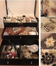 Job Lot Vintage Costume Jewellery Brooches Watches Necklaces in Leatherette Box