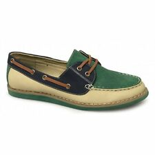 Dolcis CLAIRE Ladies Casual Lightweight Summer Boat Loafers Shoes Navy/Green New