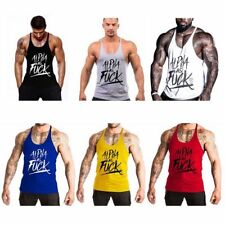 Mens Letter Printed Sport Gym Tank Tops Bodybuilding Stringer Workout Tank Vest