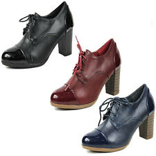 WOMENS LADIES OFFICE WORK MID HIGH BLOCK HEEL LACE UP BROGUES SHOES SIZE 2-7