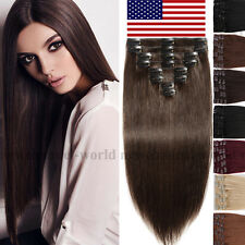 "16""18""20""22""24"" Clip in 100% Human Hair Extensions Real Remy Hair Blonde US B365"