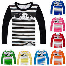 Kids Baby Boys Girls Mickey Mouse Print Long Sleeve T-Shirt Striped Blouse Tops