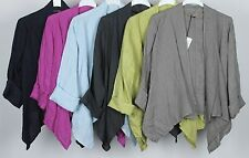 NEW LADIES ITALIAN QUIRKY LAGENLOOK PLAIN LAYERING LINEN WATERFALL JACKET TOP