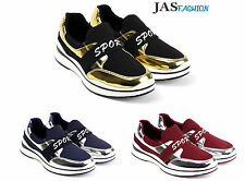 Ladies Fashion Slip On Trainers Womens Flat Shoes Sneakers Gym Pumps UK Size NEW