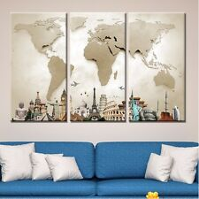 3Panel/set World Map Monuments Modern Canvas Prints Painting Wall Art Home Decor