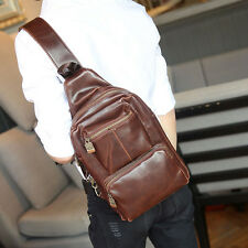 New Men PU Leather Travel Hiking Sling Back Pack Shoulder Messenger Chest Bag