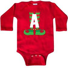 Inktastic Christmas Elf Feet Letter A Monogram Long Sleeve Creeper Red And Green