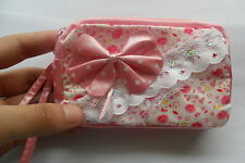 Hot /cute Pink handmade fabric change wallet/handbag/coin bag/purse for phone