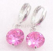 Women Girl Clear Pink Simulated Diamond White Gold Plated Hoops Dangle Earrings