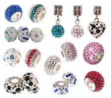 925 sterling silver crystal pave ball SHAMBALLA CHARM BEADS pick colour & number