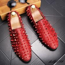 Mens Spike Punk Studded rivet Loafers Trendy Golden Show casual dress shoes@CHIC