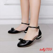 Women's Round Toe kitten Heels date Ankle strappy sandals shoes #sweet bownot