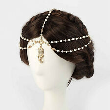 Women Lovely Metal Rhinestone Head Chain Jewelry Headband Head Piece Hair Band5H