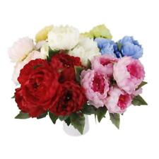 Artificial Peony Rose 5 Heads Silk Flowers Bouquet Wedding Home Decor 8 Colors