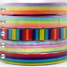"""25mm 1"""" Rainbow Grosgrain Ribbon Bow Craft Sewing Packing 2 Yards 5 Options"""