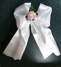 3, 5, 10 WHITE PEW BOWS SATIN  WEDDING CHURCH CHAIR PARTY DECORATIONS