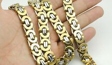 """6/8/11mm Gold Silver Flat Byzantine Stainless Steel Necklace Mens Chain 18""""-36''"""