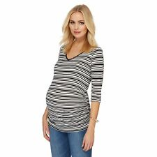 Red Herring Maternity Womens Black And Ivory Striped Maternity Top
