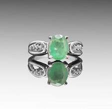 925 Sterling Silver Ring with Natural Oval Cut Emerald Green Gemstone Handmade.