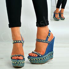 New Womens Studded Wedges Ladies Platforms High Heels Strappy Shoes Size Uk 3-8