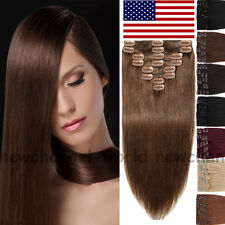 Clip In 100% Remy Human Hair Extensions Full Head Real Long Straight Blonde B389