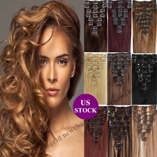 """US Full Head Clip in Remy Hair Extensions 100% Real Human Hair 16""""18""""20""""22"""" B388"""