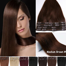 Luxury 7/8PCS Clip in 100% Remy Human Hair Extensions Full Head 70g-120g US B385