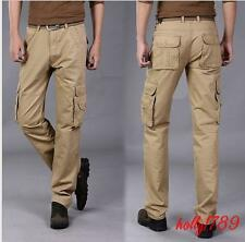Mens Pants Straight Work Tooling Casual overall Trousers#pockets@size 38#black