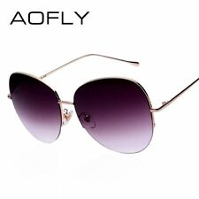 AOFLY Women Oversize Sunglasses Metal Semi-Rimless Glasses Fashion Vintage Summe
