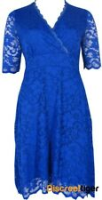 Gorgeous Blue Empire Waist Dress With Floral Lace Overlay Plus Size 14 to 20