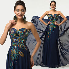 Plus Size Peacock  Formal Evening Women Gown Prom Party Chiffon Bridesmaid^Dress