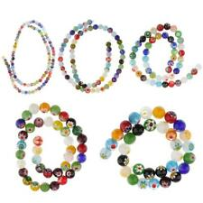 Mix Millefiori Lampwork Glass Round Loose Spacer Beads for Jewelry Making Craft