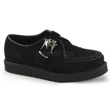 Demonia Creeper-605 Black Suede Skull Buckle Shoes - Gothic,Goth,Punk,Black,Cree