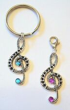 Beautiful TREBLE CLEF Key Chain or Pendant/Clip 7 colors US Seller FREE SHIPPING