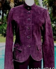 Cache Leather Suede Jacket Top New Sz 2/4/6/8/10/12 Lined Banded Collar $248 NWT