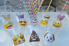 Set of 24- Emoji  Party Cups with Lids and Straws